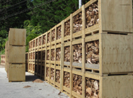 side-view of firewood storage crates